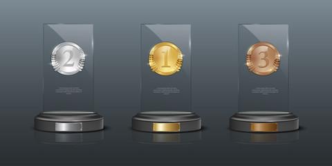 Glass awards realistic vector illustration