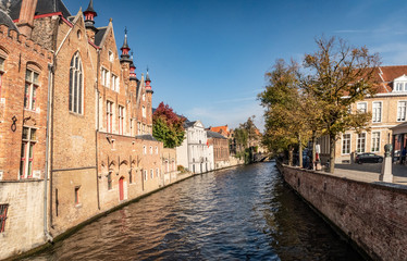 Foto auf Leinwand Brugge Classic panoramic view of the historic city center of Brugge