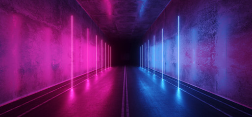 Asphalt Cement Road Double Lined Sci Fi Futuristic  Concrete Walls Underground Dark Night Car Show Neon Laser Led Lights Glowing Purple Blue Arc Virtual Stage Showroom 3D Rendering