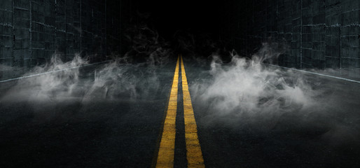 Smoke Sci Fi Futuristic Asphalt Tunnel Corridor Garage Cement Road Double Lined Concrete Walls Underground Dark Night Car Show Neon Glowing Arc Stage Showroom 3D Rendering