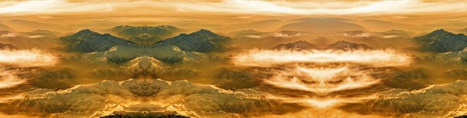 Canvas Print - Panorama Gebirge mit Wolken bei Sonnenuntergang