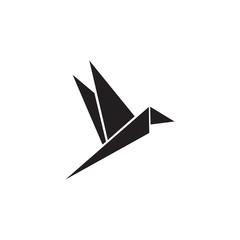 Origami style of bird logo design vector template