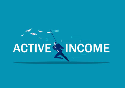 businessman trying to catch money fly active income concept .vector