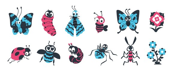 Cute insects. Cartoon bugs with happy face, spider caterpillar butterfly and other colorful characters for vector children illustration. Group funny fly animals in wildlife with flowers