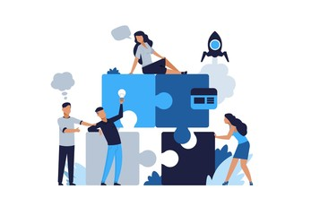 Business puzzle concept. Teamwork and partnership flat puzzle with cartoon businessman. Vector illustrations people connected in collaboration for jigsaw solutions and development business