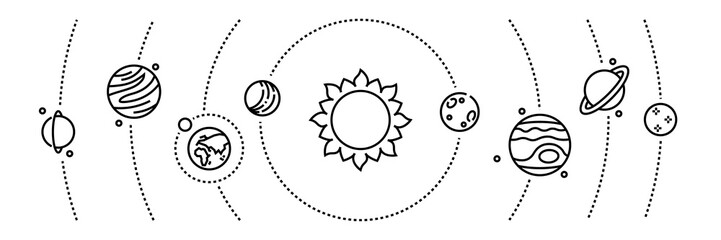 Planet line icons. Cosmos objects and solar system planets infographic elements. Vector illustration astronomy and space thin line banner universe map symbols