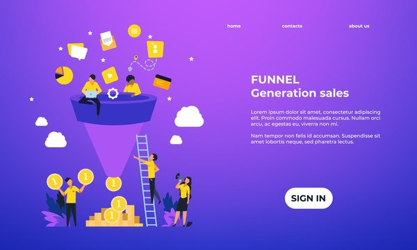Leads generation landing page. Increasing customers web page template, inbound marketing concept. Vector illustration web page funnel sales potential client for generate traffic