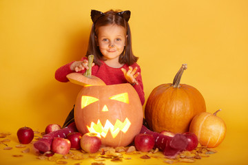 Horizontal shot of girl sitting over autumn harvest - pumpkin, apples. Charming toddler with cat's ears and mustache, looking directly at camera with happy expression. Halloween decorations concept. Wall mural