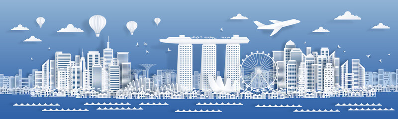 Paper cut Singapore. Famous landmarks and buildings of Singapore, poster card design template in paper style. Vector cityscape design with white urban home panorama airplane traveling illustration