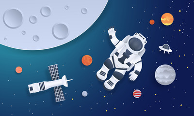 Paper cut space. Astronaut with planets stars and rocket design template, cartoon galaxy in paper style. Vector origami illustration background cosmonaut floating in galaxy
