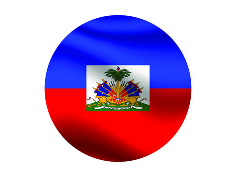 Haiti Waving national flag with inside sticker round circke isolated on white background. original colors and proportion. Vector illustration, from countries flag set
