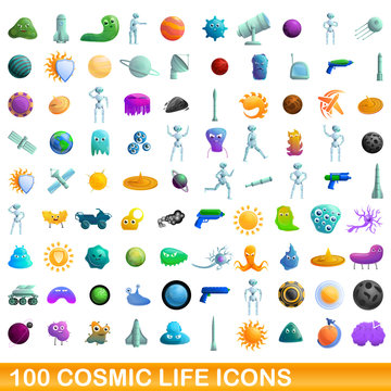 Cosmic Life icons set. Cartoon set of 100 cosmic life vector icons for web isolated on white background