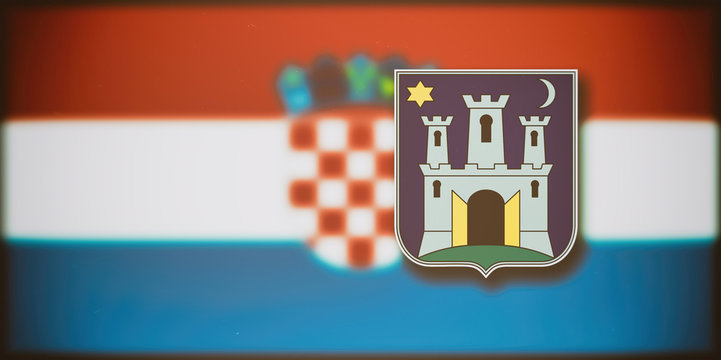 The coat of arms of Zagreb on the blurred flag of Croatia in the background.