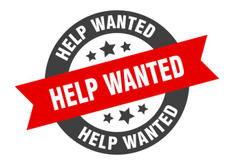 help wanted sign. help wanted black-red round ribbon sticker