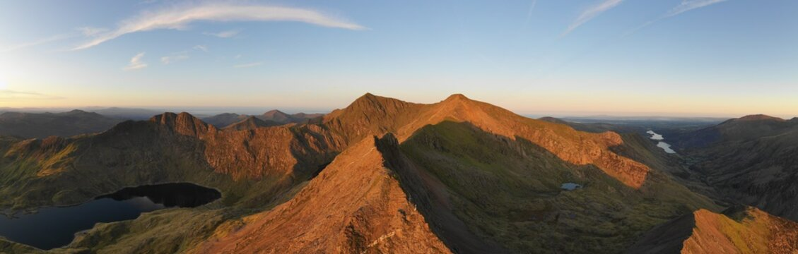 Snowdonia panoramic mountain landscape view with Crib Goch and Mount Snowdon