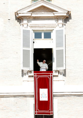 Pope Francis leads the Angelus prayer on St Peter's Square at the Vatican