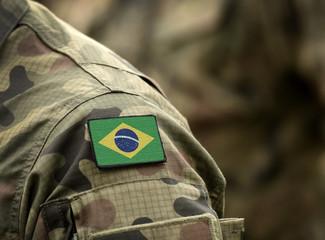 Papiers peints Brésil Flag of Brazil on military uniform (collage).