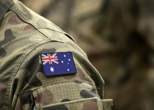 Flag of Australia on military uniform (collage).