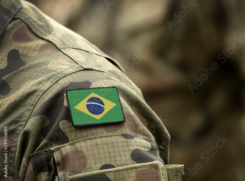 Flag of Brazil on military uniform (collage).