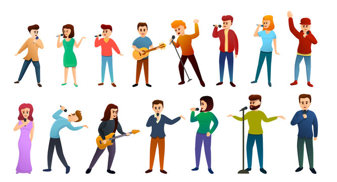 Singer icons set. Cartoon set of singer vector icons for web design