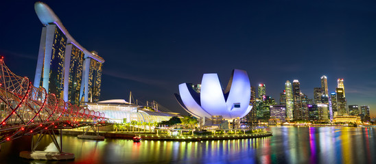 Photo sur Toile Singapoure Marina Bay and Singapore city skyline at night