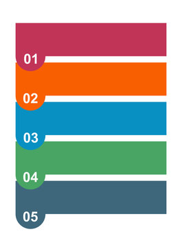 Colorful 5 step infographic diagram. Vector illustration on white background
