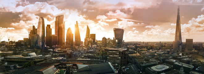Poster London City of London at sunset. Modern skyscrapers of the financial area. UK, 2019