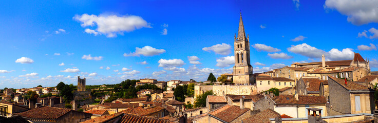 panoramic view of the medieval city of Saint Emilion, in the Gironde department, in New Aquitaine in southwestern France