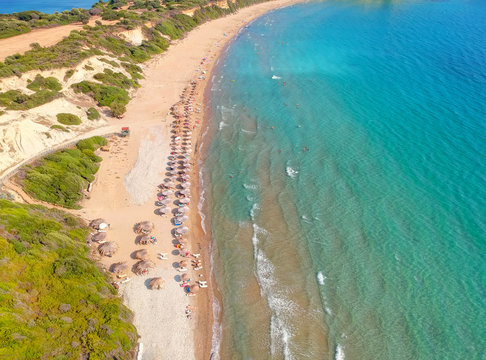 Aerial drone view of Gerakas beach a natural protected hatchery of Caretta-Caretta sea turtles, Zakynthos island, Ionian, Greece.