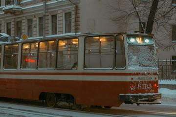 old tram in city