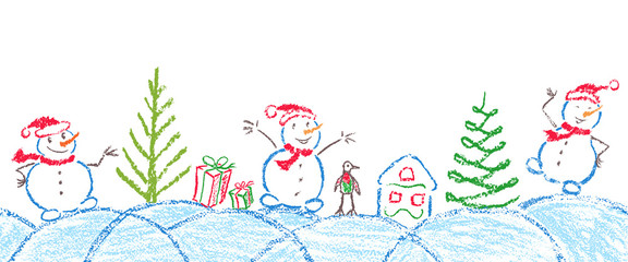 Like child hand drawing christmas tree, gift box, snowdrift and funny smiling snowman. Crayon, pastel chalk or pencil hand painting funny sketch kids doodle style vector snow background header banner