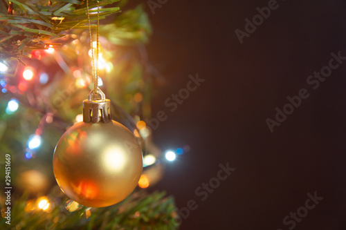 Christmas Decoration Hanging Gold Balls On Pine Branches
