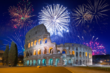 Door stickers Rome Fireworks display over the Colosseum in Rome, Italy