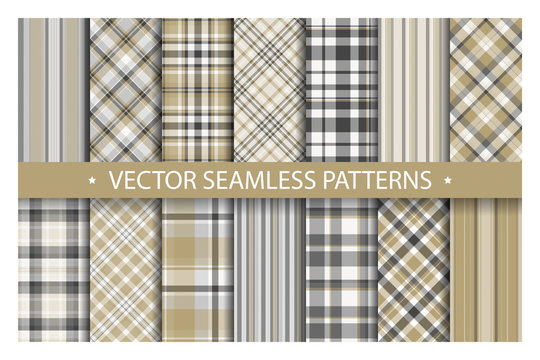 Tartan set pattern seamless plaid vector. Geometric background fabric texture. Modern check fashion template for textile print, wrapping paper, gift card, wallpaper flat design.
