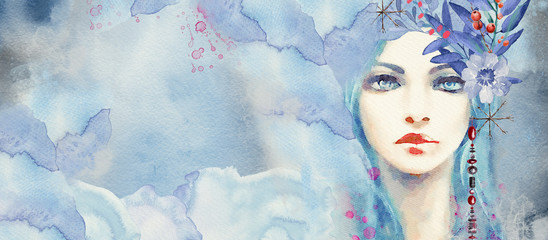 Fototapeta Winter. Abstract portrait of girl. Fashion watercolor background.. obraz