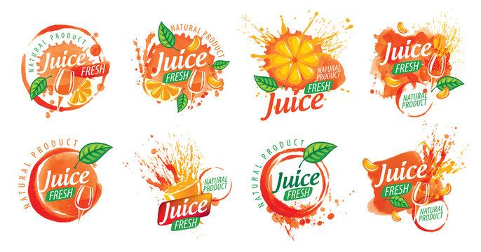 Set of vector orange juice splatter logos on white background