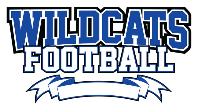Wildcats Football With Banner is a team design template that includes text and a blank banner with space for your own information. Great for advertising and promotion for teams or schools.