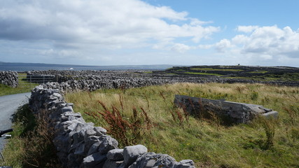 Historische Steinmauern auf Irland
