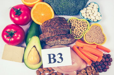 Nutritious products containing vitamin B3 (PP, niacin) and other natural minerals, concept of healthy nutrition. White background.