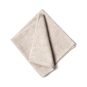 Single folded light gray linen napkin