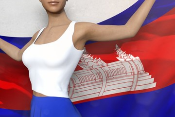 sexy woman in bright skirt holds Cambodia flag in hands behind her back on the white background - flag concept 3d illustration