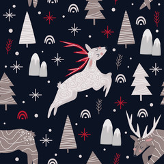 seamless pattern with christmas deers on dark blue background - vector illustration, eps