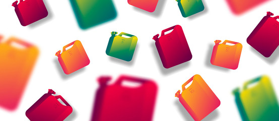 Canister vector jerrican or can of fuel gasoline for automobile and plastic jerrycan with petrol modern background with blur objects