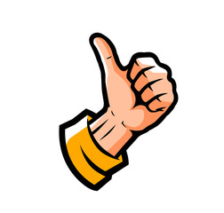 Hand showing thumbs up. Symbol vector illustration