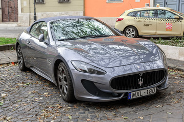 BUDAPEST, HUNGARY - OCTOBER 28, 2017: Maserati Granturismo Parked on the streets of Budapest.