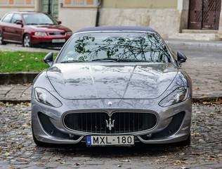 BUDAPEST, HUNGARY - OCTOBER 28, 2017: Maserati Granturismo Parked on the streets of Budapest.