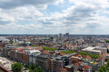 Cityscape, old Belgian city Antwerpen, view from above