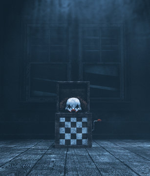 Haunted toys jack in haunted house,3d illustration