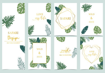 Wall Mural - Green gold collection of jungle frame set with leaf,leaves vector illustration for birthday invitation,postcard,logo and sticker