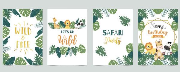 Wall Mural - Green animal collection of safari frame set with lion,giraffe,zebra vector illustration for birthday invitation,postcard,logo and sticker